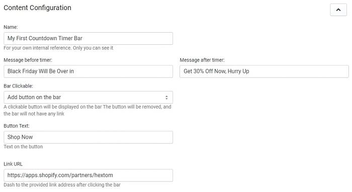 Countdown Timer Bar Shopify App Configuration