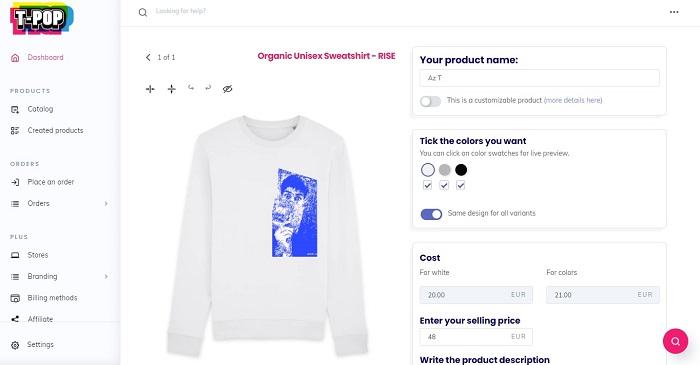 Customizing T-Shirt in T-Pop Shopify App