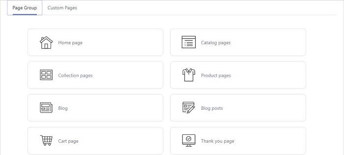Page selection in Nudgify 2021