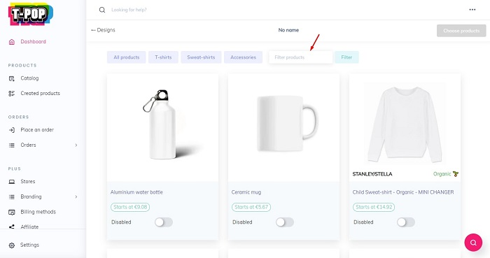 Select Product Design in T-Pop