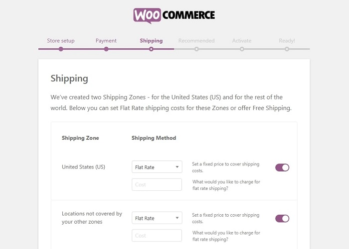 correct settings for woocommerce shipping