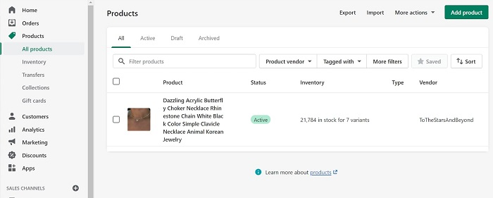 done importing aliexpress product on shopify with oberlo
