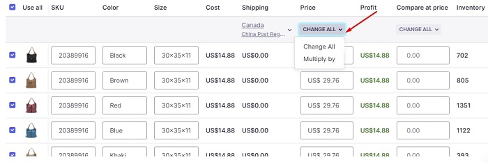 How to change pricing of all variants in one go in Oberlo