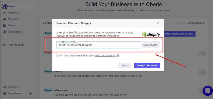 how to link a shopify store to oberlo chrome extension