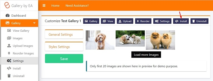 how to make and publish an image gallery in shopify