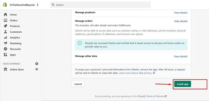 install oberlo app on shopify admin dashboard