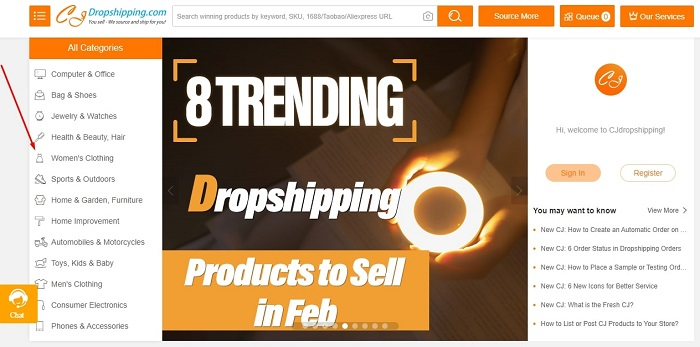 product categories in CJ dropshipping