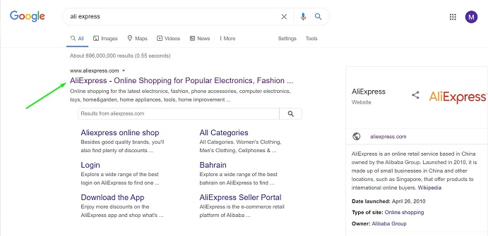 Searching AliExpress on Google
