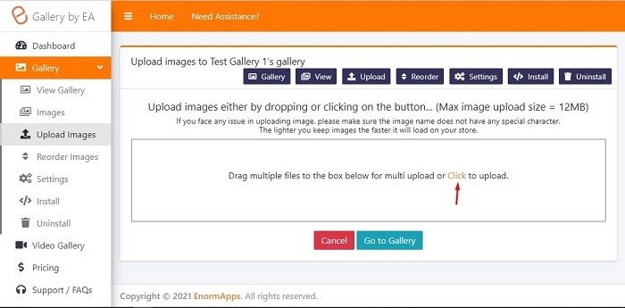 upload images on image video gallery