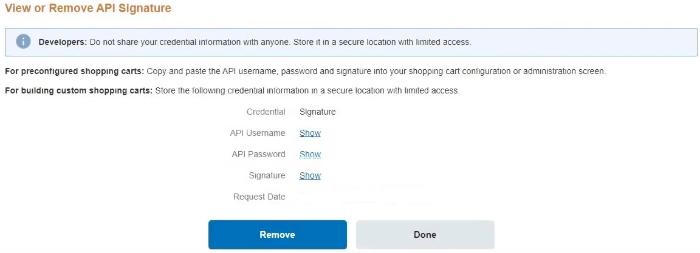 access the api signature