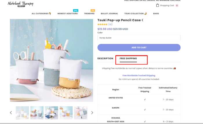 add free shipping to product page in shopify