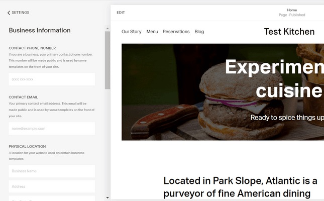 add site information and configure key settings in squarespace