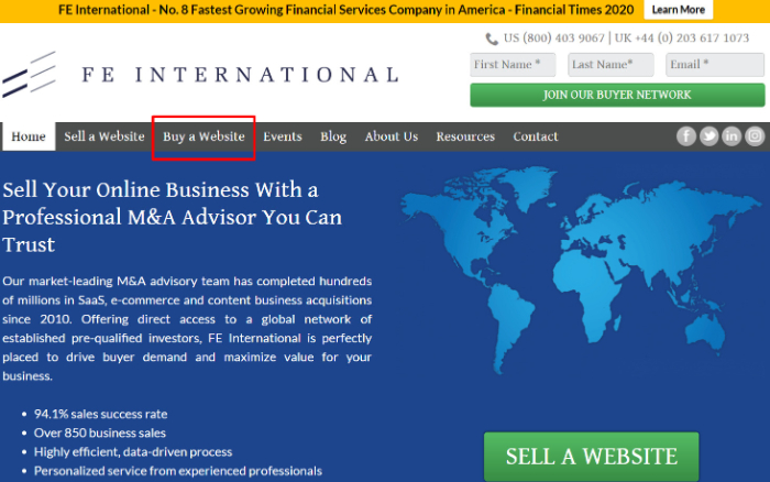 buy a website on fe international