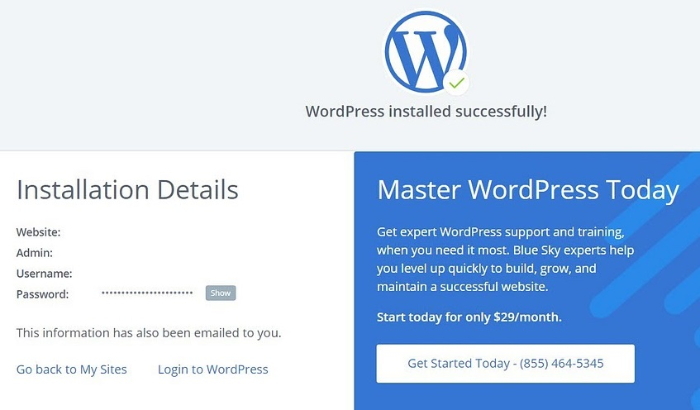 complete wordpress installation with bluehost
