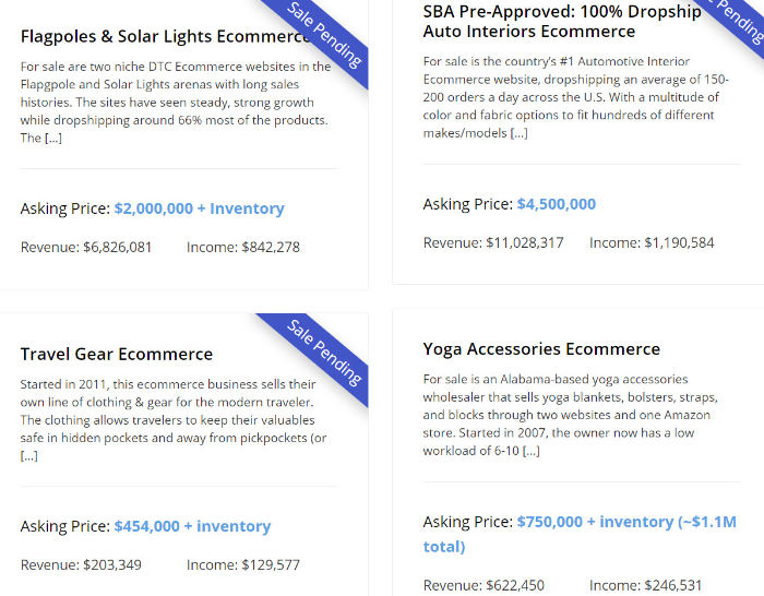 digital exits website for sale listing