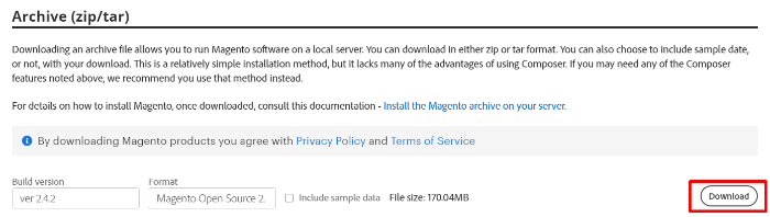 download magento latest archive for server