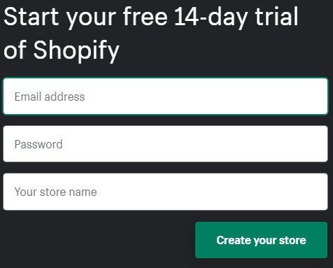 Enter required details to set up Shopify store