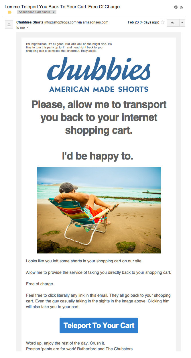 example of a perfect abandoned cart email