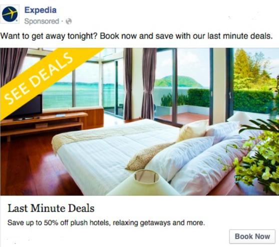 expedia facebook ad example