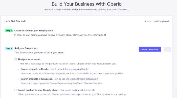 exploer products on oberlo