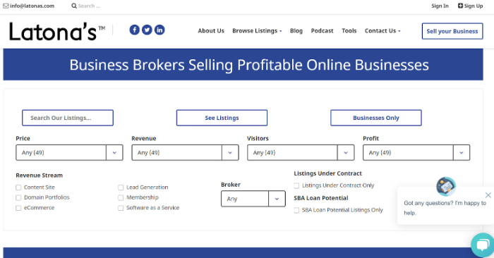 find eCommerce business for sale on latonas