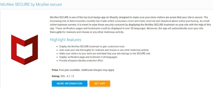 get mcafee secure trust badge for shopify