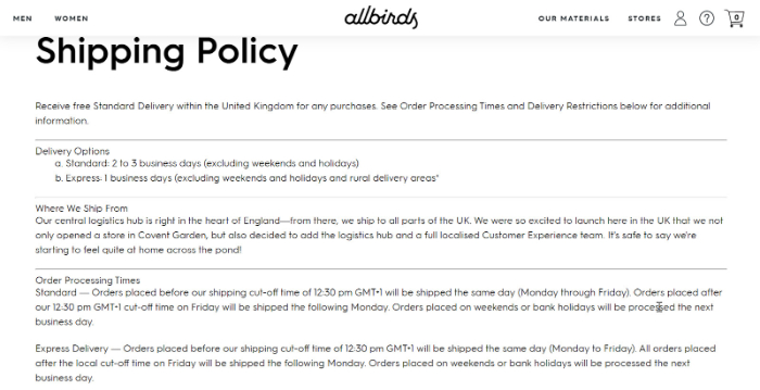 have detailed shipping policy with question and answers