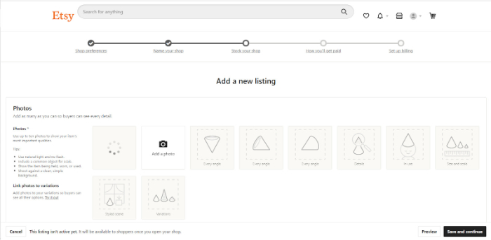 how to add a new listing in etsy