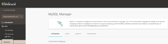 how to create a database in siteground for magento