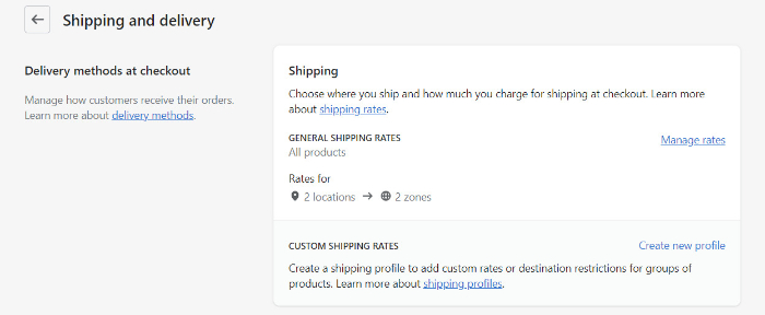 manage shopify shipping rates