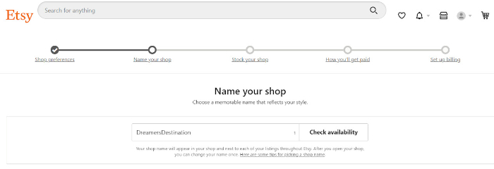 naming your etsy store