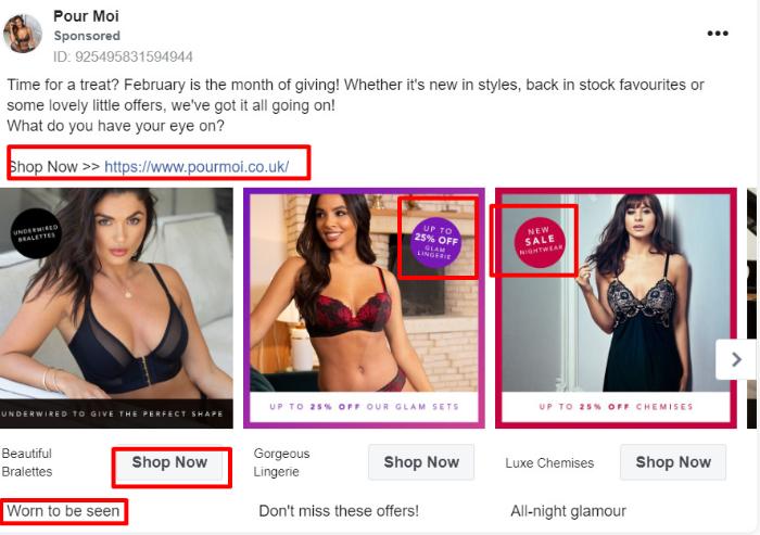pour moi facebook ad example