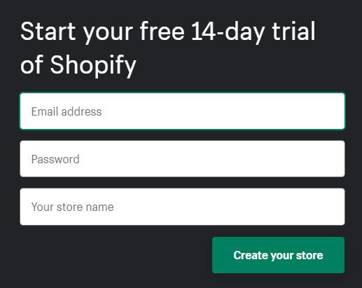 registering on shopify