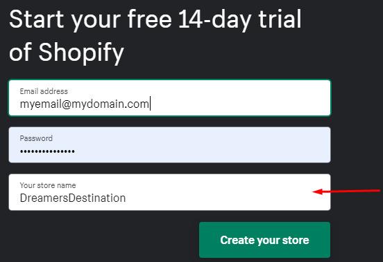 registering shopify