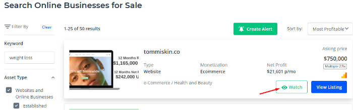save eCommerce websites on flippa