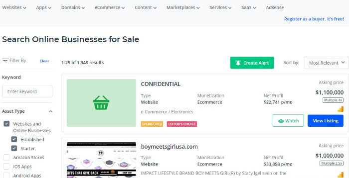 search for ecommerce business for sale on flippa