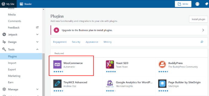 search woocommerce on wordpress plugins section