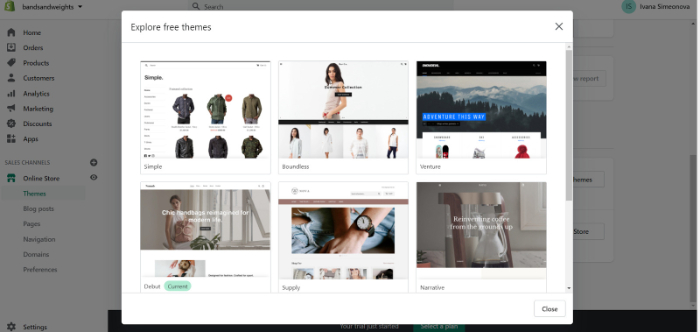 select theme for your shopify store