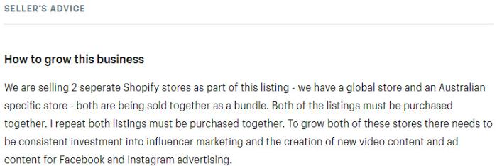 seller advice for website listing on exchange