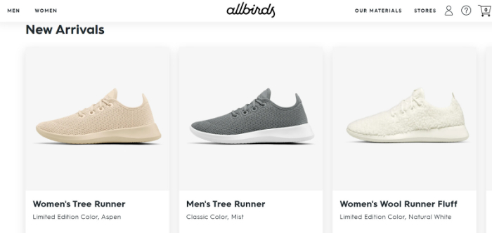 shoes store example for shopify