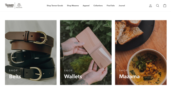 shopify store example page