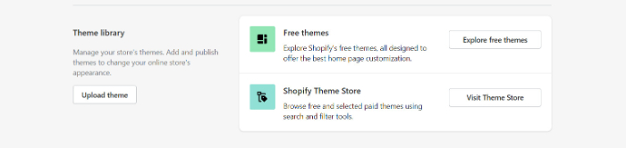 choose theme to set up Shopify store from library