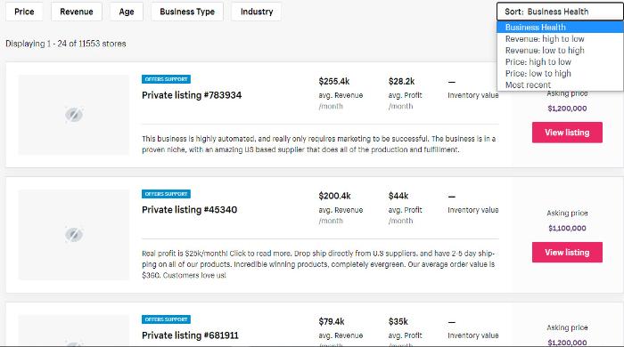 sort websites on exchange to get ecommerce business for sale