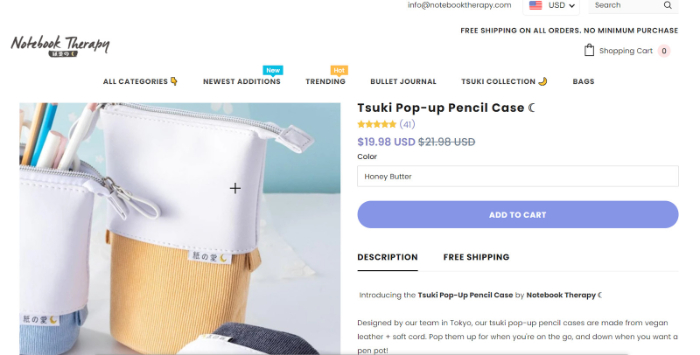 stationary shopify store example