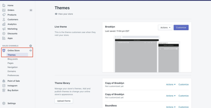 store themes section in shopify