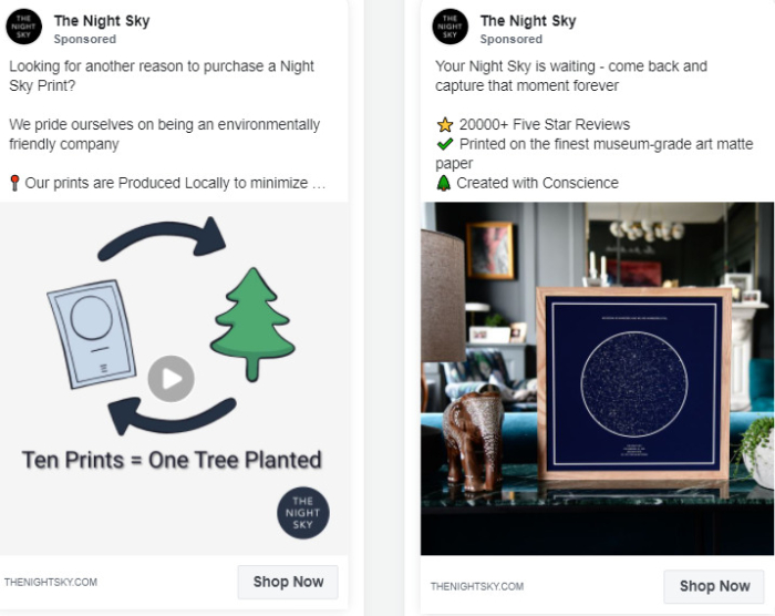 the night sky facebook ad example