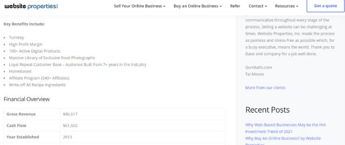 website detail on website properties