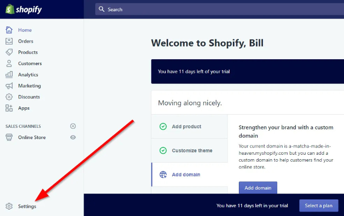 where can I find settings in shopify