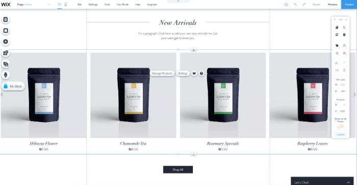 wix drag and drop ecommerce platform
