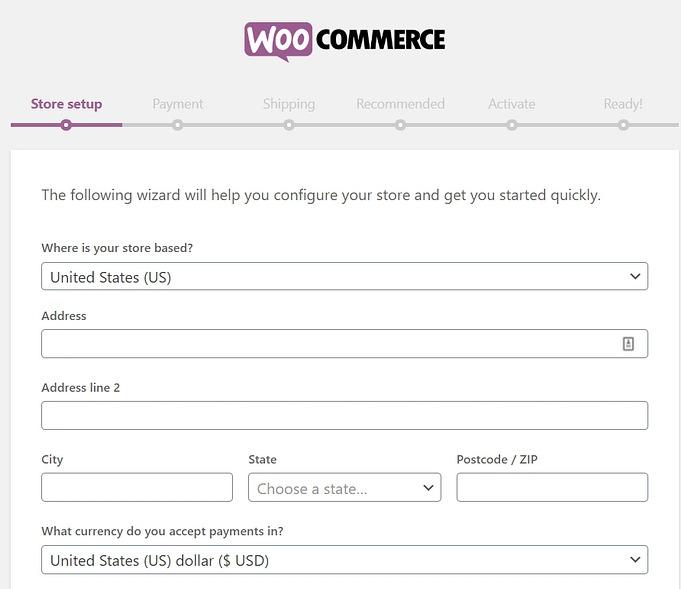 woocommerce store setup information